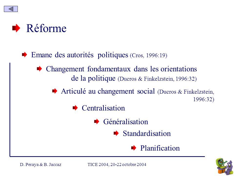 D. Peraya & B. JaccazTICE 2004, 20-22 octobre 2004 Réforme Emane des autorités politiques (Cros, 1996:19) Centralisation Changement fondamentaux dans