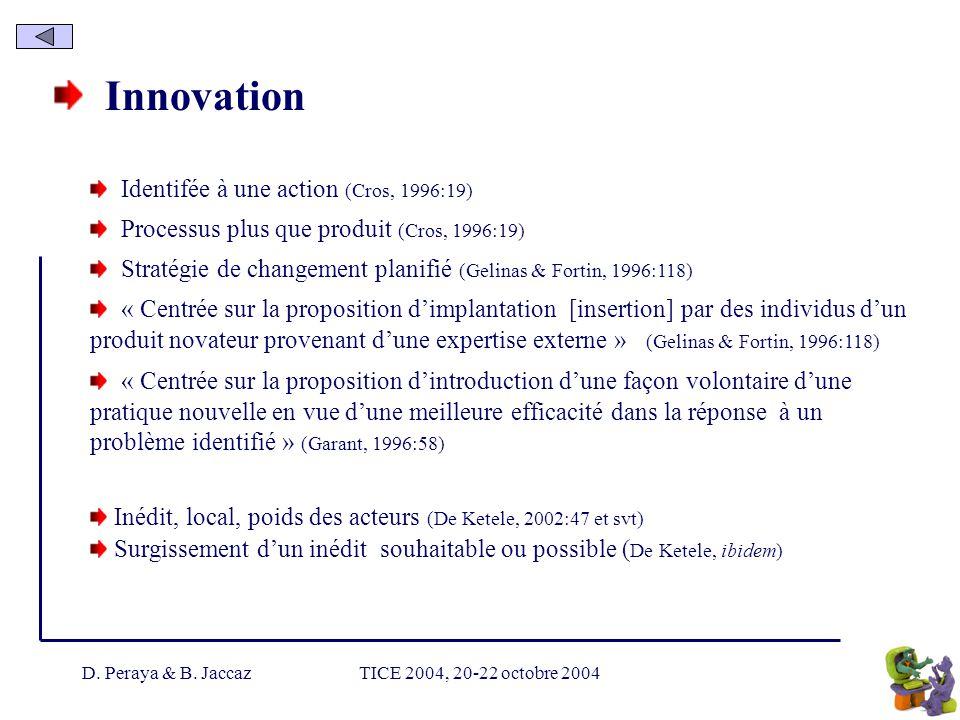 D. Peraya & B. JaccazTICE 2004, 20-22 octobre 2004 Innovation Identifée à une action (Cros, 1996:19) Processus plus que produit (Cros, 1996:19) Straté