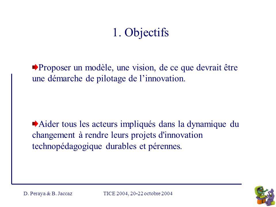 D. Peraya & B. JaccazTICE 2004, 20-22 octobre 2004 1. Objectifs Proposer un modèle, une vision, de ce que devrait être une démarche de pilotage de lin