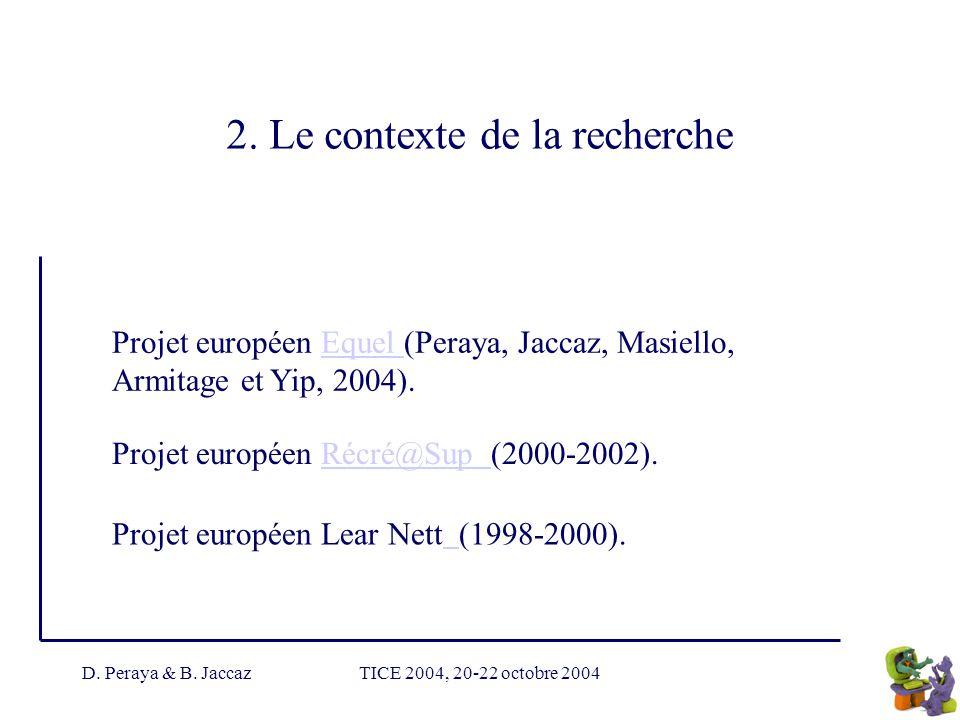 D. Peraya & B. JaccazTICE 2004, 20-22 octobre 2004 2. Le contexte de la recherche Projet européen Equel (Peraya, Jaccaz, Masiello, Armitage et Yip, 20