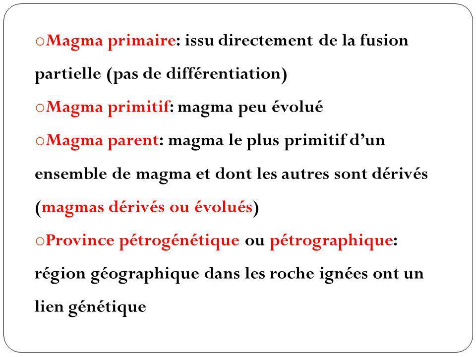o Magma primaire: issu directement de la fusion partielle (pas de différentiation) o Magma primitif: magma peu évolué o Magma parent: magma le plus pr