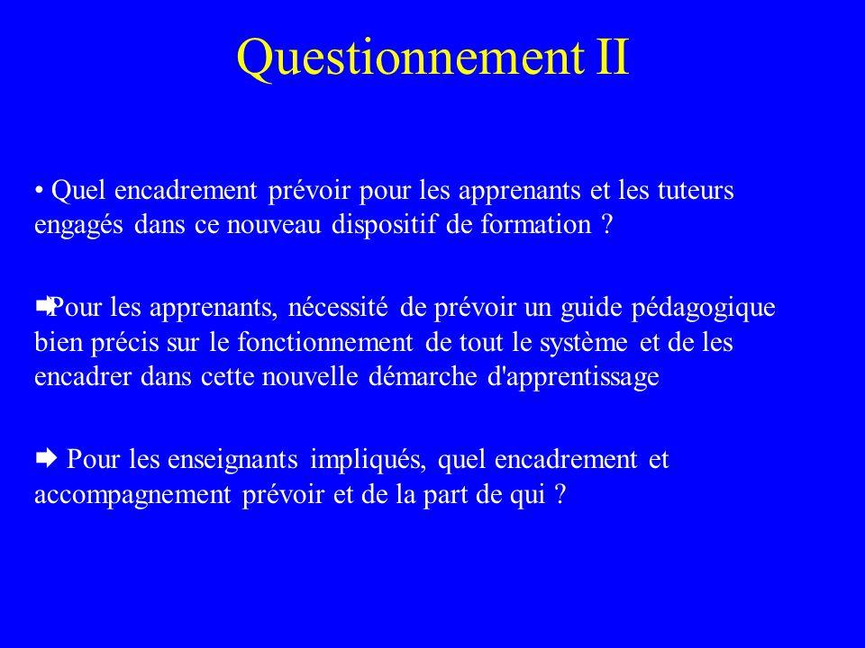 Questionnement II Quel encadrement prévoir pour les apprenants et les tuteurs engagés dans ce nouveau dispositif de formation .