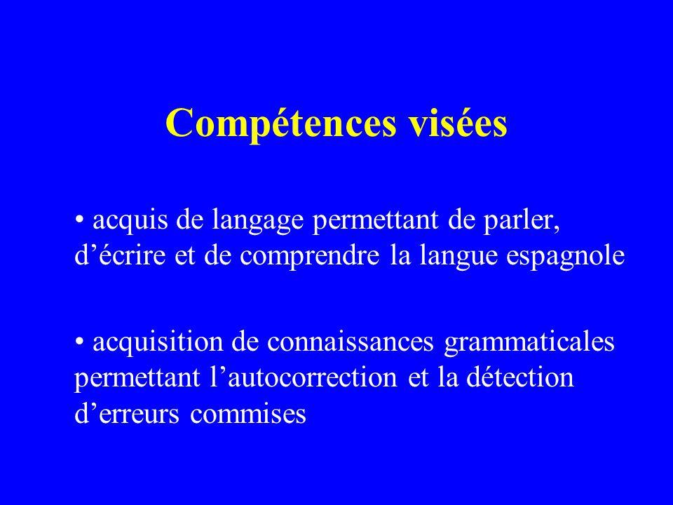 Compétences visées acquis de langage permettant de parler, décrire et de comprendre la langue espagnole acquisition de connaissances grammaticales permettant lautocorrection et la détection derreurs commises