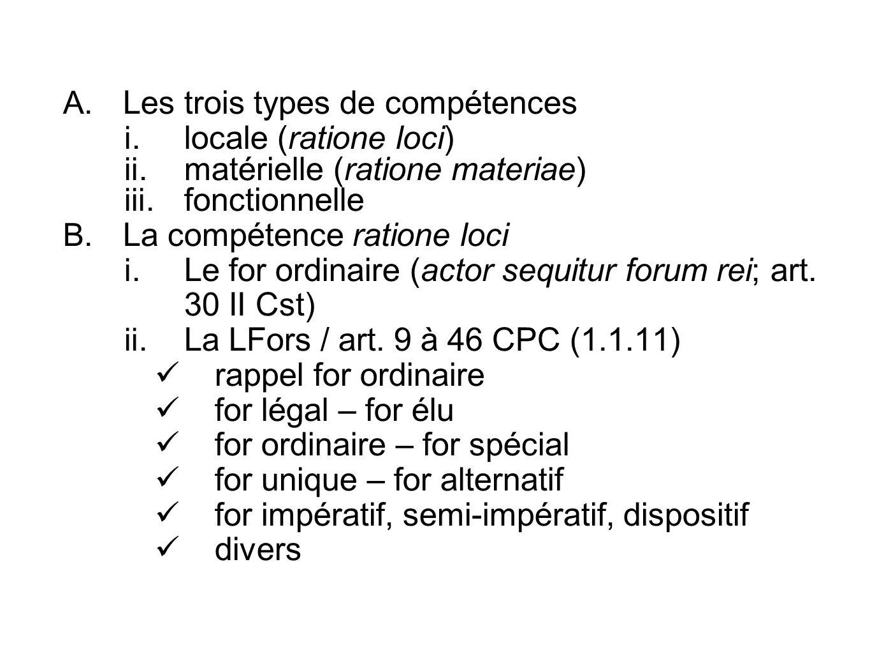 A. Les trois types de compétences i. locale (ratione loci) ii. matérielle (ratione materiae) iii. fonctionnelle B. La compétence ratione loci i. Le fo