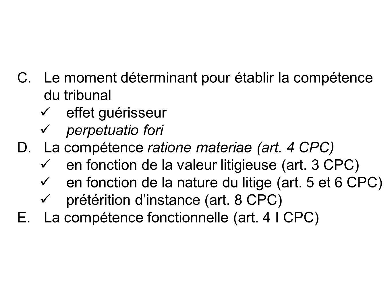 C. Le moment déterminant pour établir la compétence du tribunal effet guérisseur perpetuatio fori D. La compétence ratione materiae (art. 4 CPC) en fo