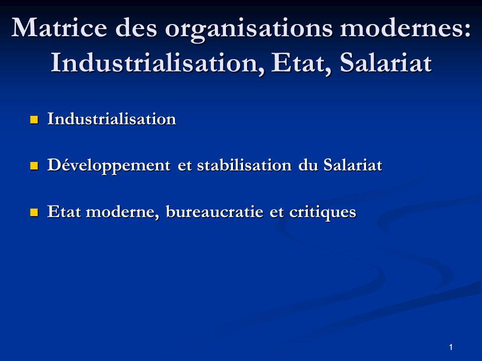 1 Matrice des organisations modernes: Industrialisation, Etat, Salariat Industrialisation Industrialisation Développement et stabilisation du Salariat