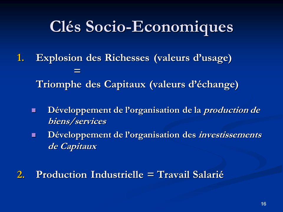 16 Clés Socio-Economiques 1.Explosion des Richesses (valeurs dusage) = Triomphe des Capitaux (valeurs déchange) Développement de lorganisation de la p