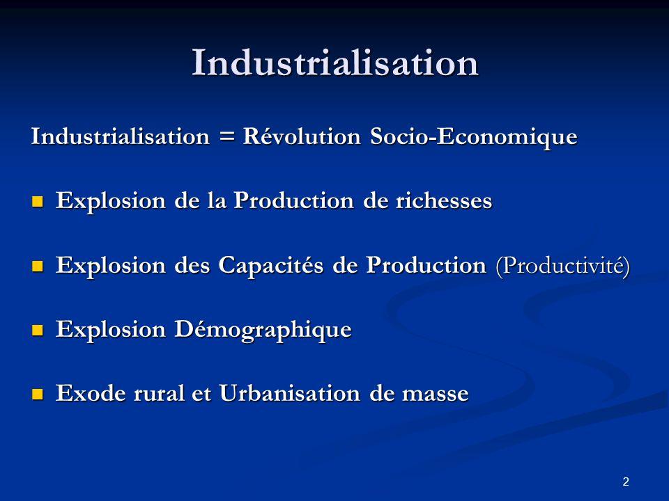 2 Industrialisation Industrialisation = Révolution Socio-Economique Explosion de la Production de richesses Explosion de la Production de richesses Ex
