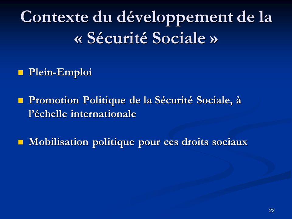 22 Contexte du développement de la « Sécurité Sociale » Plein-Emploi Plein-Emploi Promotion Politique de la Sécurité Sociale, à léchelle international