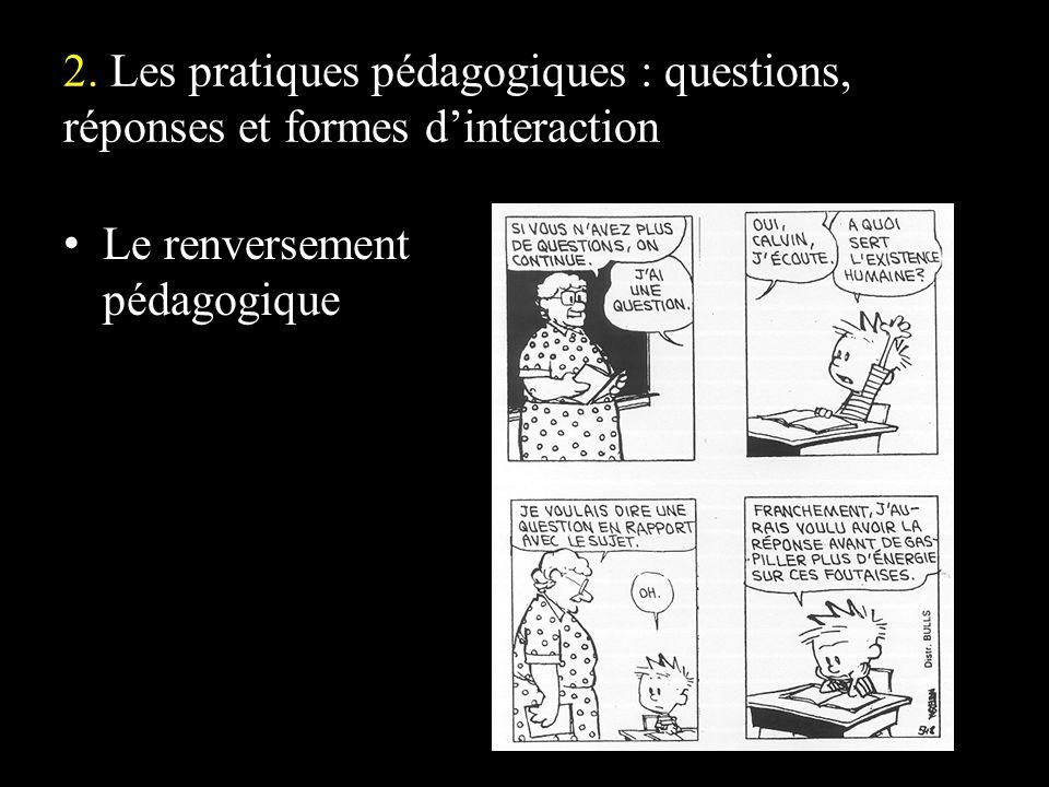 2. Les pratiques pédagogiques : questions, réponses et formes dinteraction Le renversement pédagogique