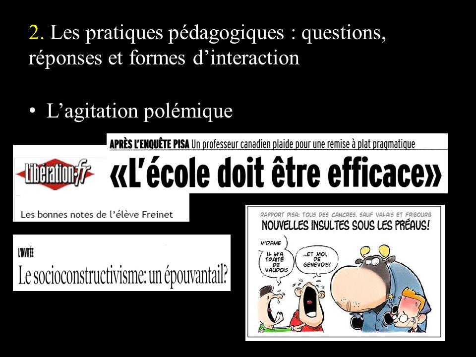 2. Les pratiques pédagogiques : questions, réponses et formes dinteraction Lagitation polémique