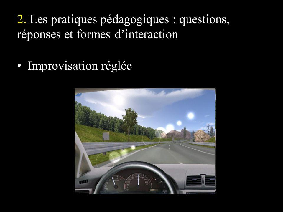2. Les pratiques pédagogiques : questions, réponses et formes dinteraction Improvisation réglée