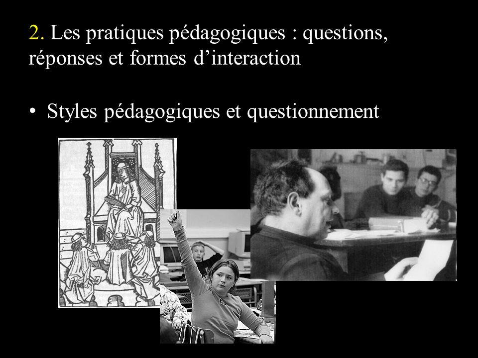 2. Les pratiques pédagogiques : questions, réponses et formes dinteraction Styles pédagogiques et questionnement