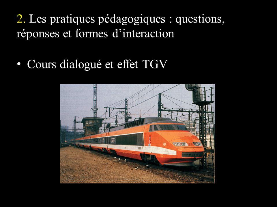 2. Les pratiques pédagogiques : questions, réponses et formes dinteraction Cours dialogué et effet TGV