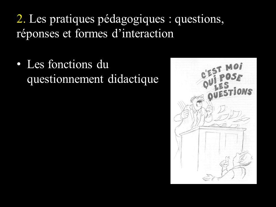 2. Les pratiques pédagogiques : questions, réponses et formes dinteraction Les fonctions du questionnement didactique
