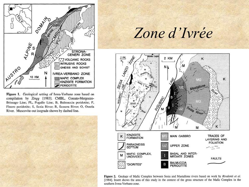 Anorthosites Roches plutoniques avec >90% plagioclase –Pas dequivalents volcaniques connus Nature felsique et localisation dans des environnements continentaux les rapprochent des granitoides Cependant, la présence de plag calcique et les mineraux mafiques associées suggèrent une connection avec les roches basaltiques