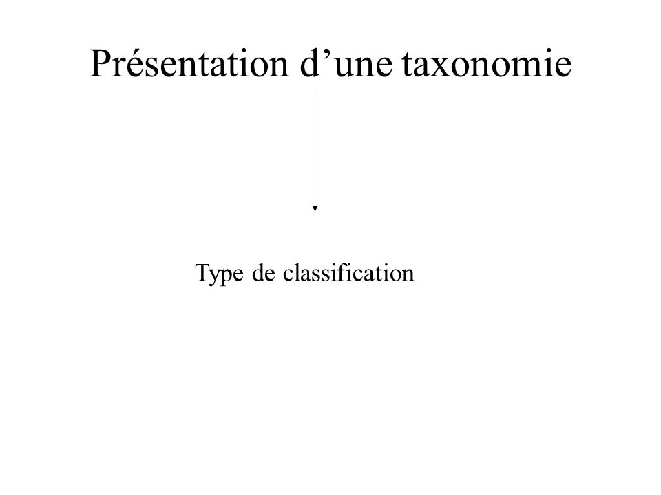 Présentation dune taxonomie Type de classification