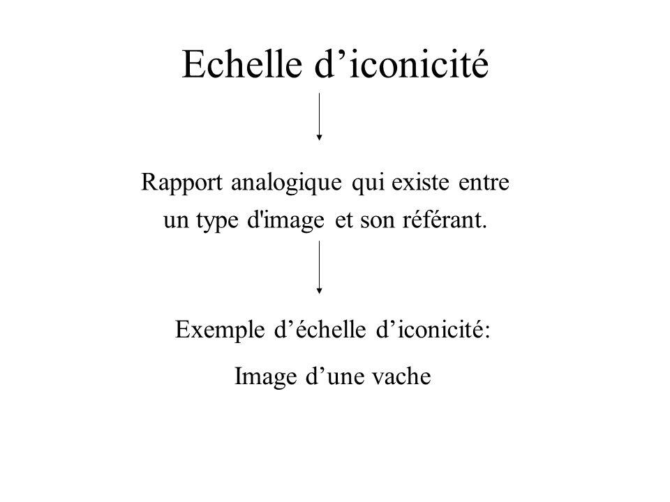 Echelle diconicité Rapport analogique qui existe entre un type d'image et son référant. Exemple déchelle diconicité: Image dune vache
