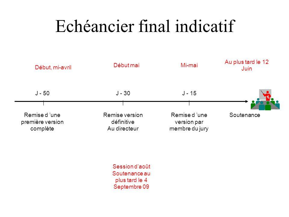 Echéancier final indicatif Soutenance J - 15 Remise d une version par membre du jury Remise version définitive Au directeur Remise d une première vers