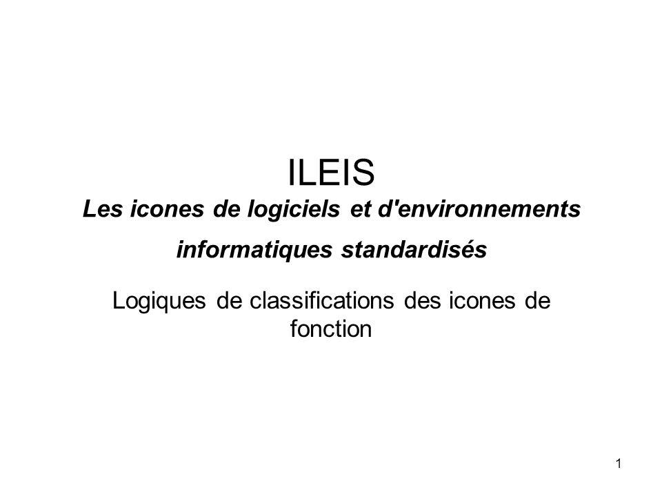 1 ILEIS Les icones de logiciels et d environnements informatiques standardisés Logiques de classifications des icones de fonction