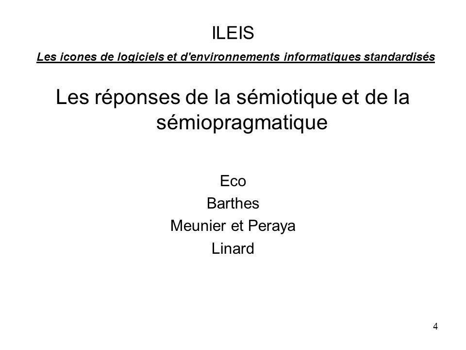 4 ILEIS Les icones de logiciels et d environnements informatiques standardisés Les réponses de la sémiotique et de la sémiopragmatique Eco Barthes Meunier et Peraya Linard