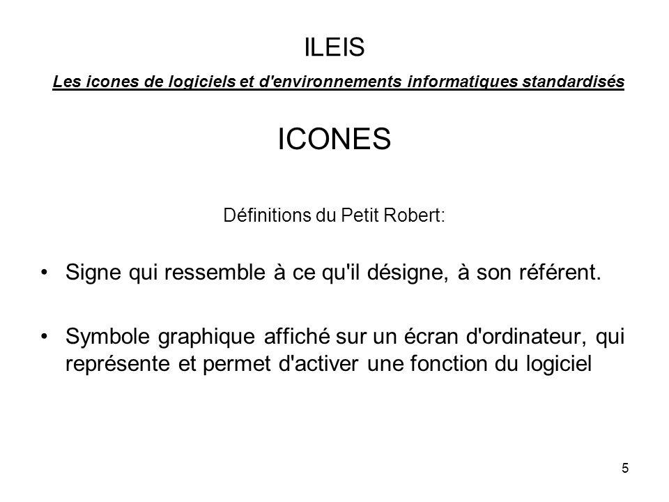 5 ILEIS Les icones de logiciels et d environnements informatiques standardisés ICONES Définitions du Petit Robert: Signe qui ressemble à ce qu il désigne, à son référent.