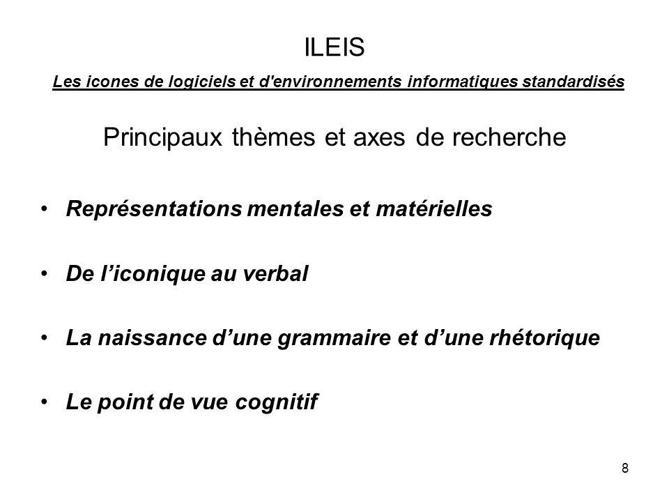 8 ILEIS Les icones de logiciels et d environnements informatiques standardisés Principaux thèmes et axes de recherche Représentations mentales et matérielles De liconique au verbal La naissance dune grammaire et dune rhétorique Le point de vue cognitif