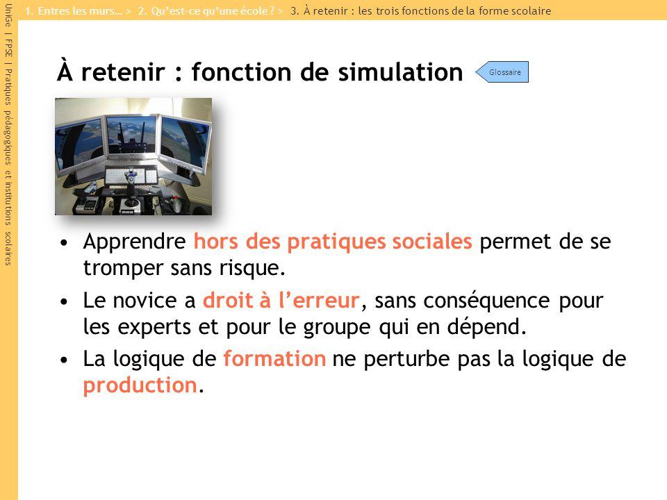 UniGe | FPSE | Pratiques pédagogiques et institutions scolaires À retenir : fonction de simulation Apprendre hors des pratiques sociales permet de se