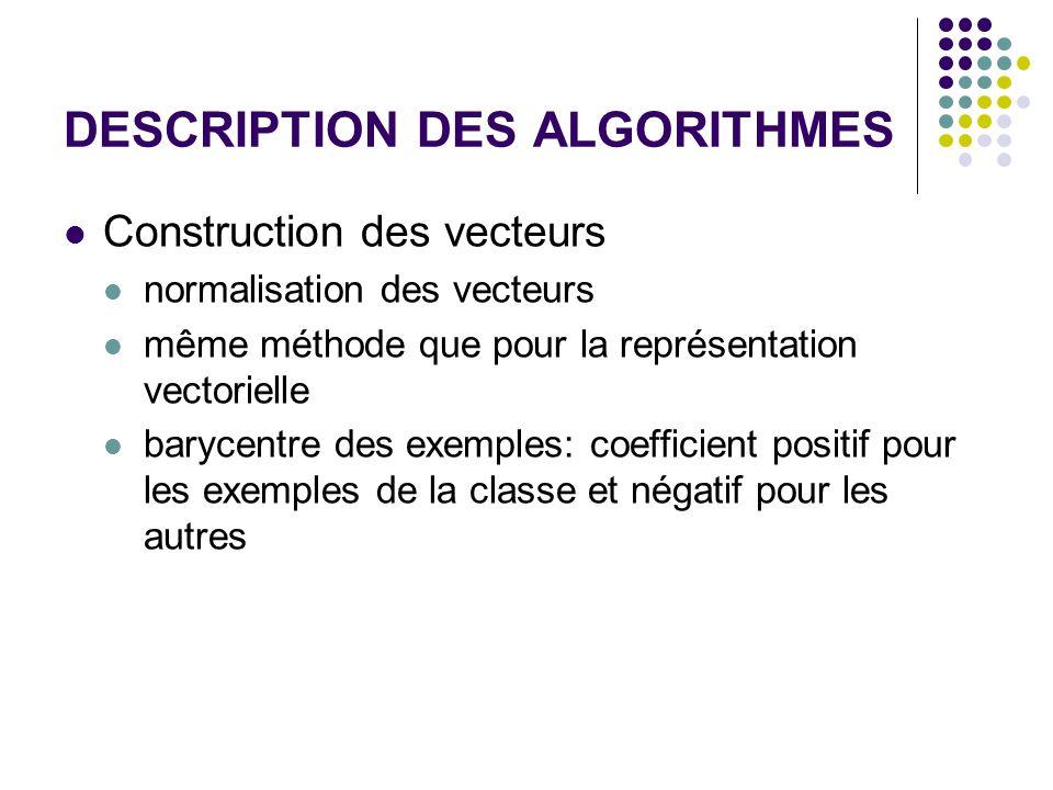 DESCRIPTION DES ALGORITHMES Construction des vecteurs normalisation des vecteurs même méthode que pour la représentation vectorielle barycentre des exemples: coefficient positif pour les exemples de la classe et négatif pour les autres