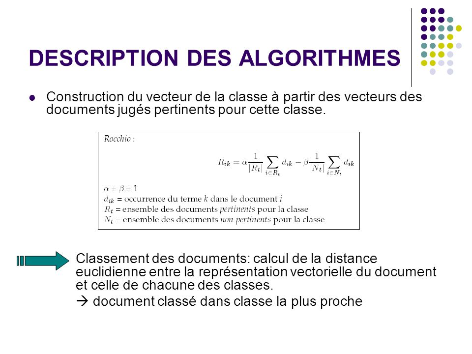 DESCRIPTION DES ALGORITHMES Construction du vecteur de la classe à partir des vecteurs des documents jugés pertinents pour cette classe.