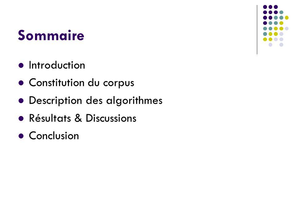 Sommaire Introduction Constitution du corpus Description des algorithmes Résultats & Discussions Conclusion