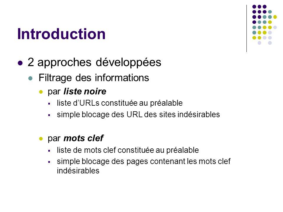Introduction 2 approches développées Filtrage des informations par liste noire liste dURLs constituée au préalable simple blocage des URL des sites indésirables par mots clef liste de mots clef constituée au préalable simple blocage des pages contenant les mots clef indésirables