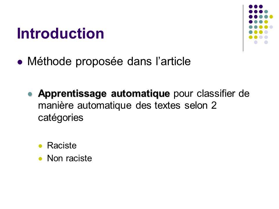 Introduction Méthode proposée dans larticle Apprentissage automatique Apprentissage automatique pour classifier de manière automatique des textes selon 2 catégories Raciste Non raciste