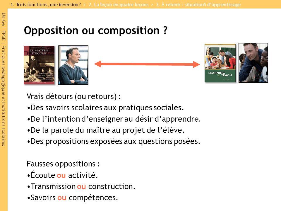 UniGe | FPSE | Pratiques pédagogiques et institutions scolaires Opposition ou composition ? 1. Trois fonctions, une inversion ? > 2. La leçon en quatr