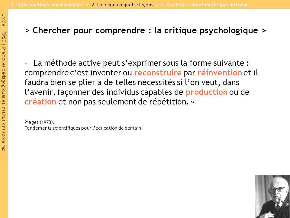 UniGe | FPSE | Pratiques pédagogiques et institutions scolaires > Chercher pour comprendre : la critique psychologique > « La méthode active peut sexp