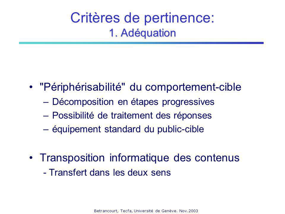 Betrancourt, Tecfa, Université de Genève.Nov.2003 1.