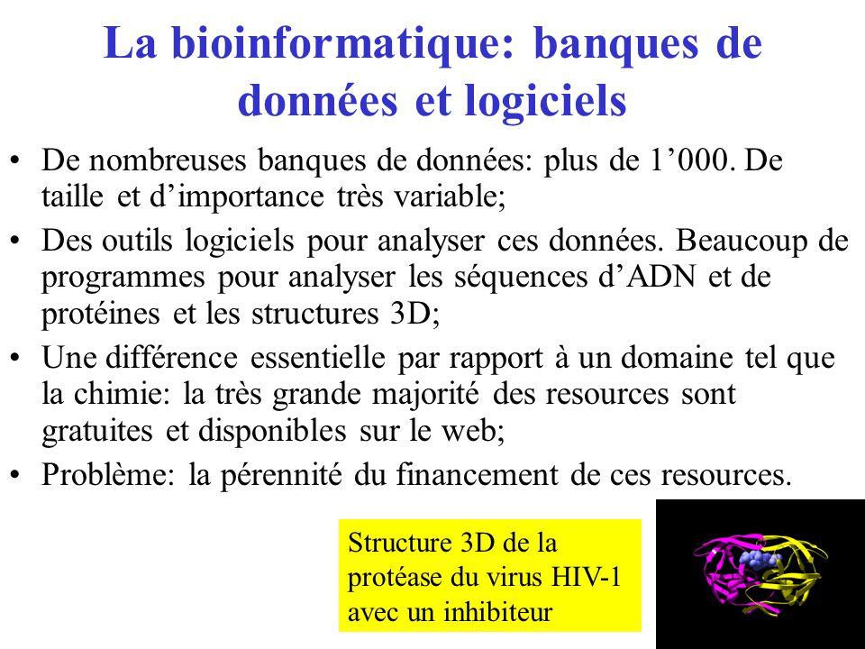 La bioinformatique: banques de données et logiciels De nombreuses banques de données: plus de 1000. De taille et dimportance très variable; Des outils