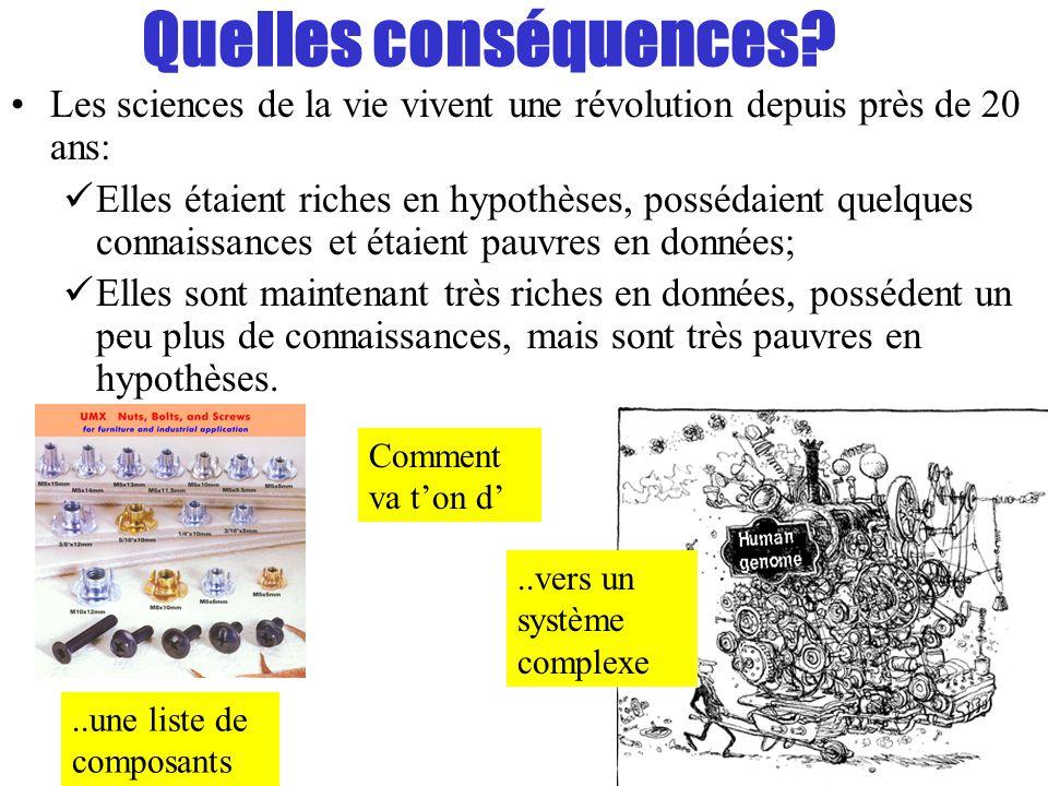 Quelles conséquences? Les sciences de la vie vivent une révolution depuis près de 20 ans: Elles étaient riches en hypothèses, possédaient quelques con