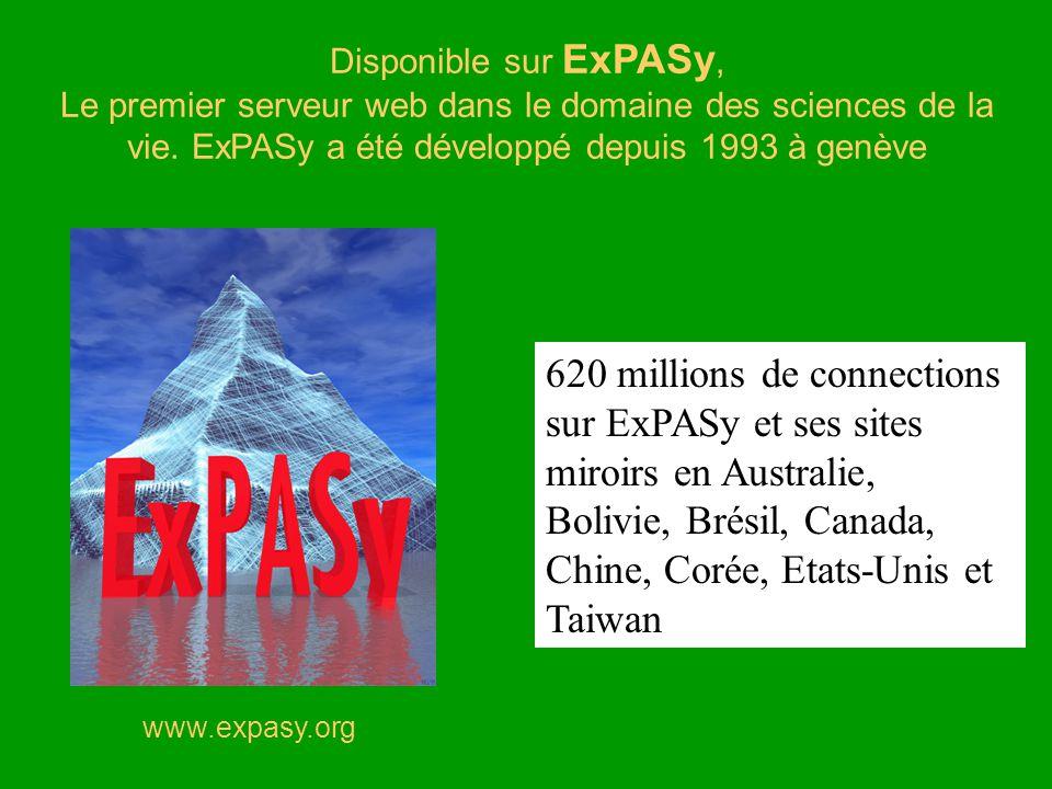 www.expasy.org Disponible sur ExPASy, Le premier serveur web dans le domaine des sciences de la vie. ExPASy a été développé depuis 1993 à genève 620 m