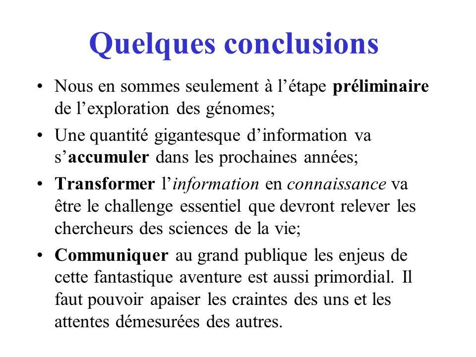 Quelques conclusions Nous en sommes seulement à létape préliminaire de lexploration des génomes; Une quantité gigantesque dinformation va saccumuler d