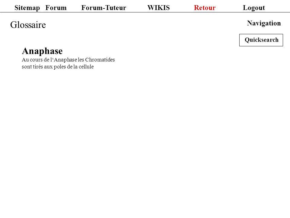 Sitemap Forum Forum-Tuteur WIKIS Retour Logout Glossaire Navigation Anaphase Au cours de lAnaphase les Chromatides sont tirés aux poles de la cellule