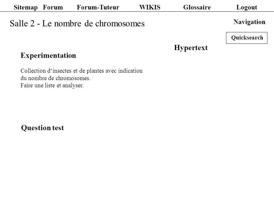 Sitemap Forum Forum-Tuteur WIKIS Glossaire Logout Salle 2 - Le nombre de chromosomes Experimentation Collection dinsectes et de plantes avec indicatio
