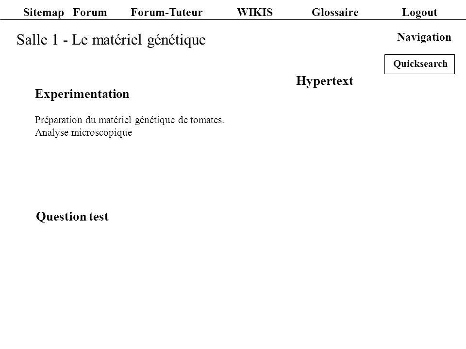 Salle 1 - Le matériel génétique Navigation Experimentation Préparation du matériel génétique de tomates. Analyse microscopique Hypertext Question test