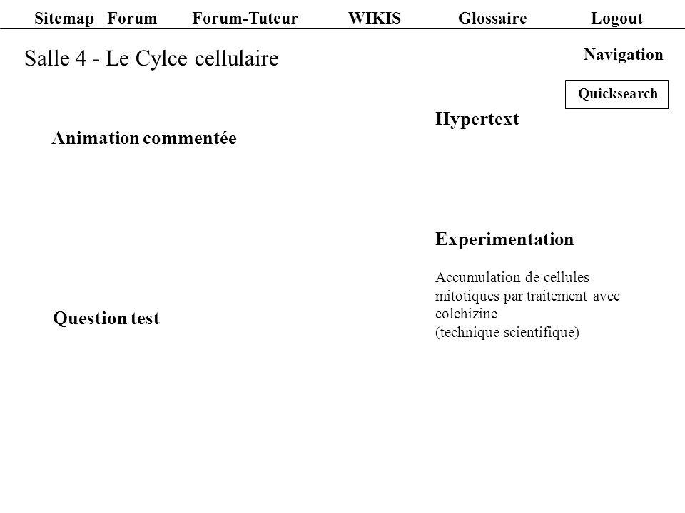 Salle 5 - La Meiose Experimentation Préparation de stades meiotiques a partir de pollen Film commenté Hypertext Question test Echantillons microscopiques Diashow avec commentaire text Navigation Sitemap Forum Forum-Tuteur WIKIS Glossaire Logout Quicksearch
