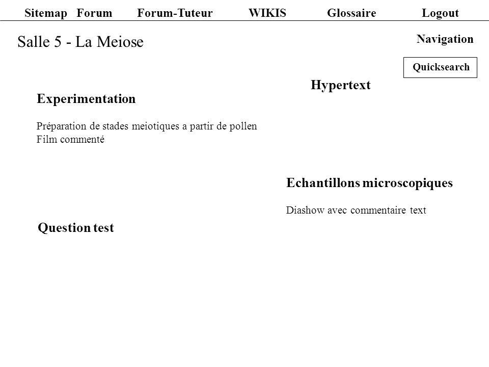 Salle 6 - Spermatogénèse et Oogénèse Animation Animation interactive et commentée Hypertext Question test Navigation Sitemap Forum Forum-Tuteur WIKIS Glossaire Logout Quicksearch