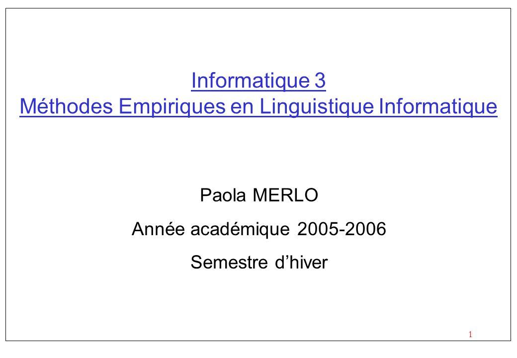 1 Informatique 3 Méthodes Empiriques en Linguistique Informatique Paola MERLO Année académique 2005-2006 Semestre dhiver
