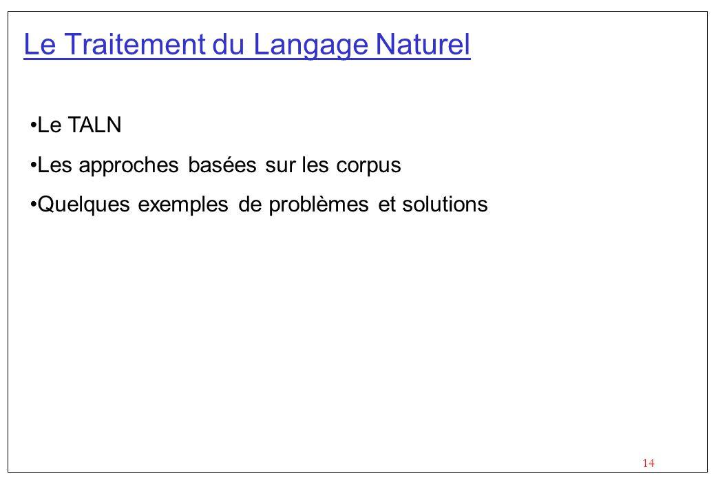 14 Le Traitement du Langage Naturel Le TALN Les approches basées sur les corpus Quelques exemples de problèmes et solutions