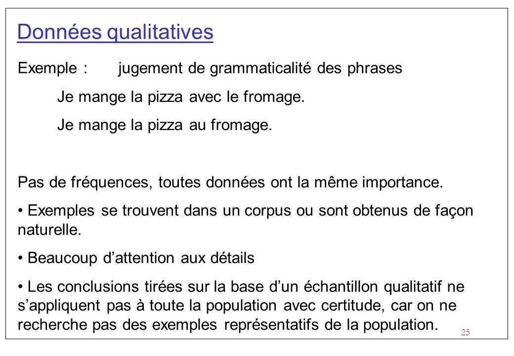 25 Données qualitatives Exemple : jugement de grammaticalité des phrases Je mange la pizza avec le fromage. Je mange la pizza au fromage. Pas de fréqu