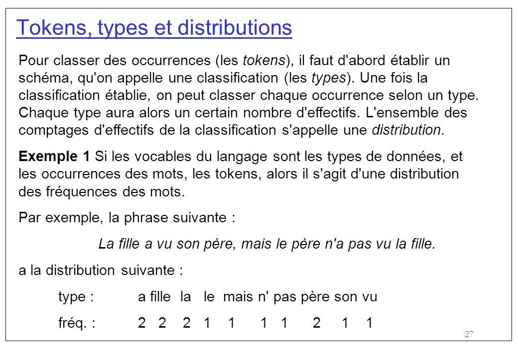 27 Tokens, types et distributions Pour classer des occurrences (les tokens), il faut d'abord établir un schéma, qu'on appelle une classification (les