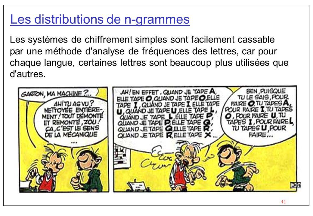 41 Les distributions de n-grammes Les systèmes de chiffrement simples sont facilement cassable par une méthode d'analyse de fréquences des lettres, ca